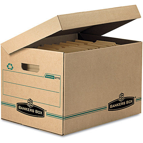 Bankers Box Stor/File Storage Box, Letter/Legal, Attached Lid, Kraft/Green, 12/Carton