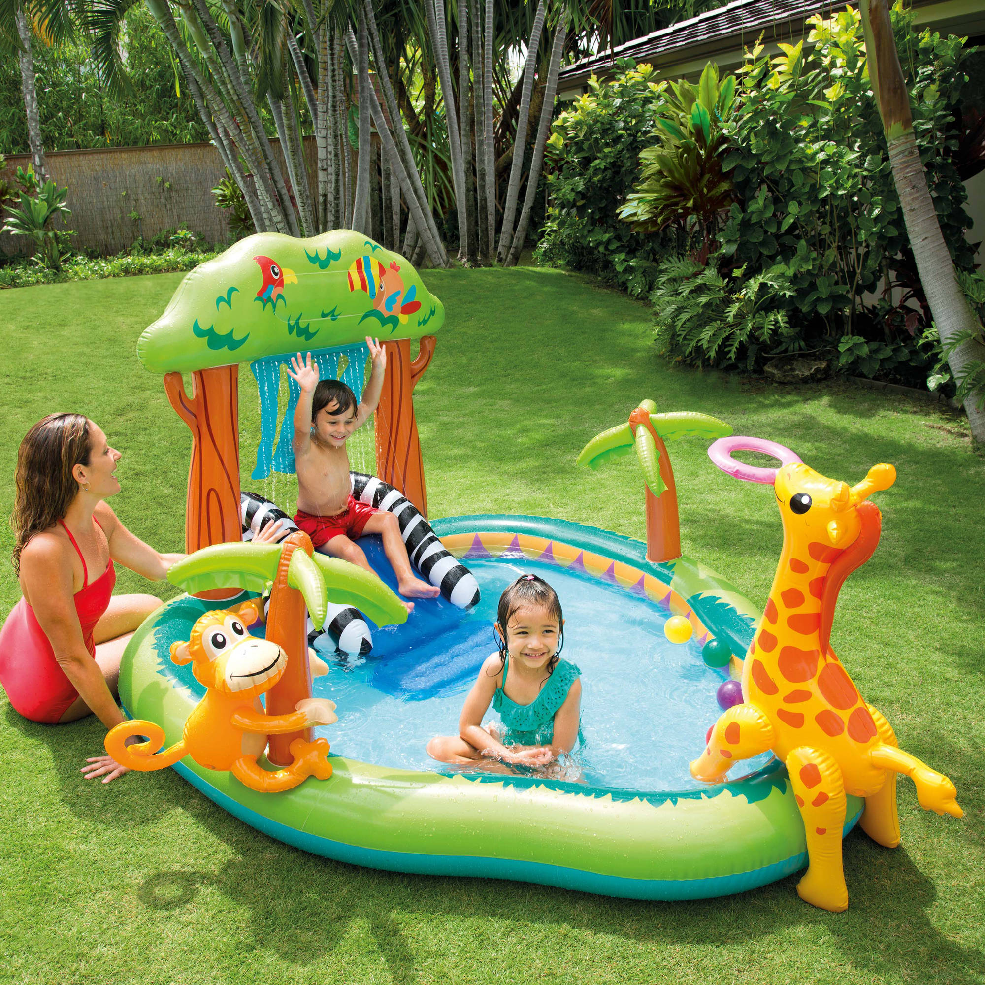 Inflatable Pool Slide Intex intex inflatable jungle play center with water slide and sprayer