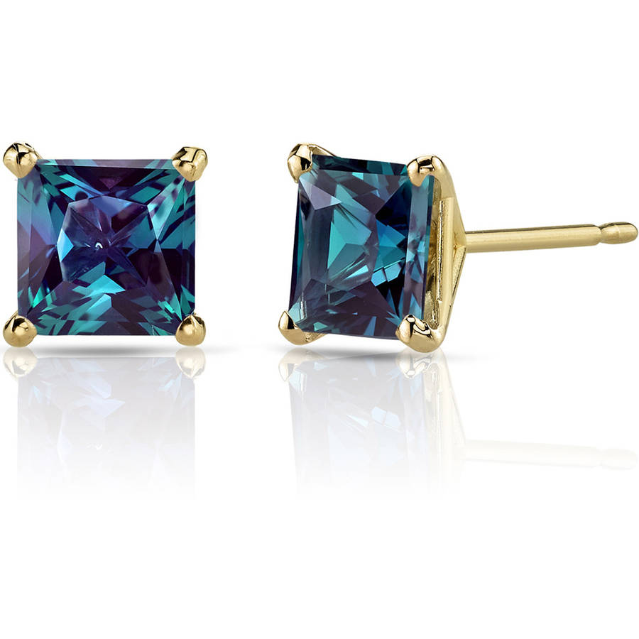 Oravo 2.50 Carat T.G.W. Princess-Cut Created Alexandrite 14kt Yellow Gold Stud Earrings
