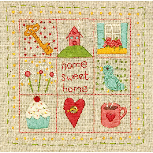 """Amy Powers Home Sampler Stamped Embroidery Kit, 6"""" x 6"""" Stitched In Thread"""
