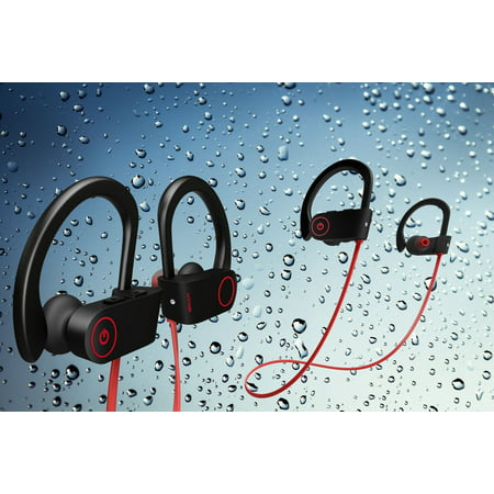 Water Proof Bluetooth Heaphones w/ Mic Wireless Noise Cancelling Earphones, Amazingforless IPX7 Water Resistant HD Stereo Sweatproof Earbuds for Gym Running Workout 8 Hour Battery Headphones