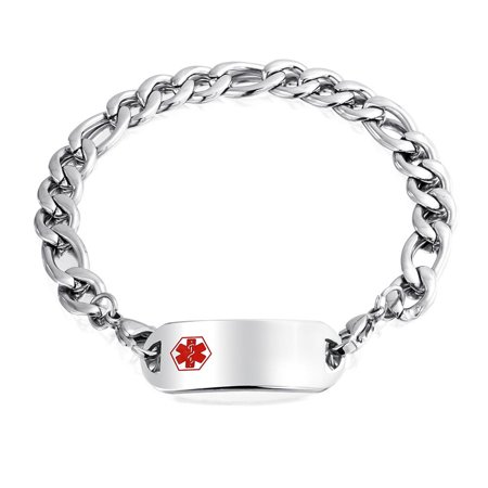 Medical Identification Doctors Medical Alert ID Bracelet Engravable Figaro Chain For Men Silver Tone Stainless Steel