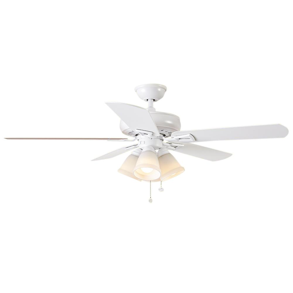 New Ceiling Fans White: Hampton Bay Lyndhurst 52 In. White Indoor Ceiling Fan