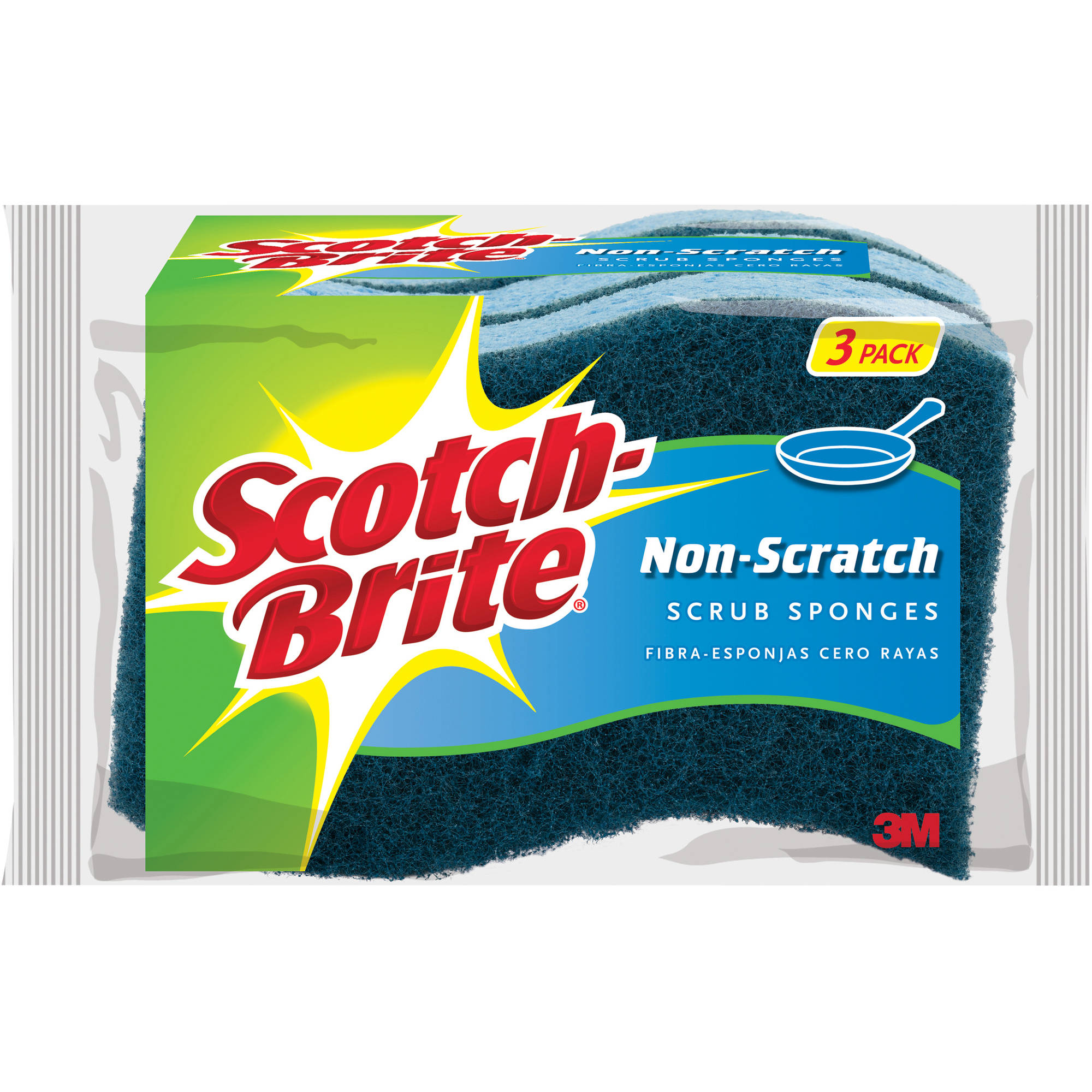 Scotch-Brite No Scratch Multi-Purpose Scrub Sponges, 3 pack