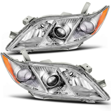 For 2007 2008 2009 Toyota Camry Headlight Assembly Chrome Housing Headlamp with Amber Reflector Clear Lens (Driver and Passenger