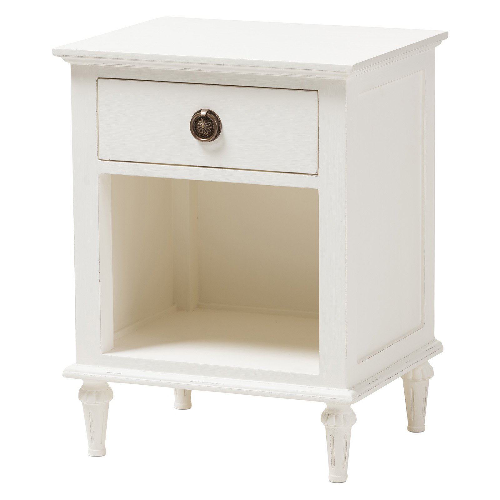 Venezia French - Inspired Rustic Washed Wood 3 - Drawer Nightstand - White - Baxton Studio