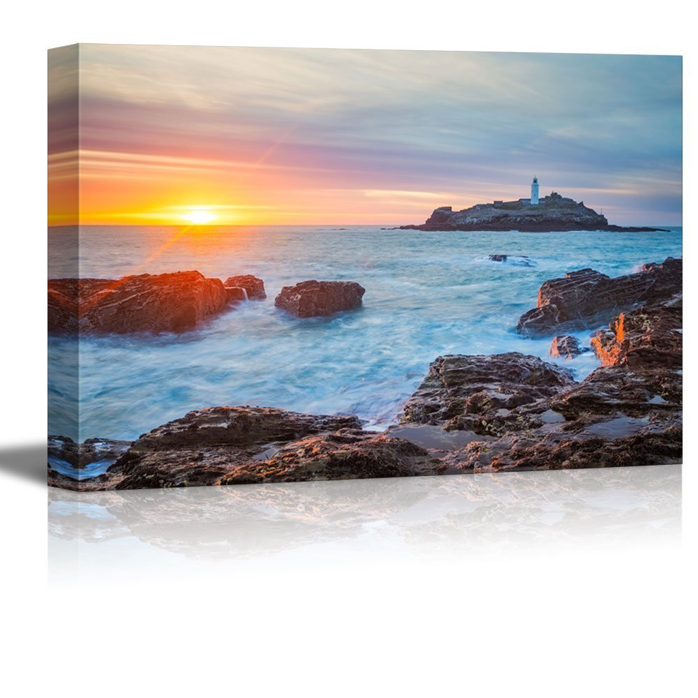 Canvas Prints Wall Art - The Sun Setting on the Horizion with Lighthouse | Mo...