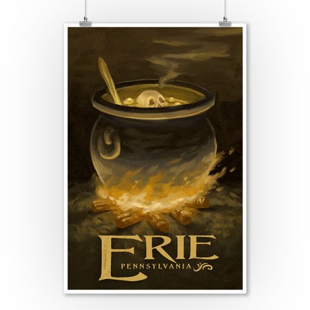 Erie, Pennsylvania - Cauldron - Halloween Oil Painting - Lantern Press Artwork (9x12 Art Print, Wall Decor Travel Poster) - Halloween Oil Paintings