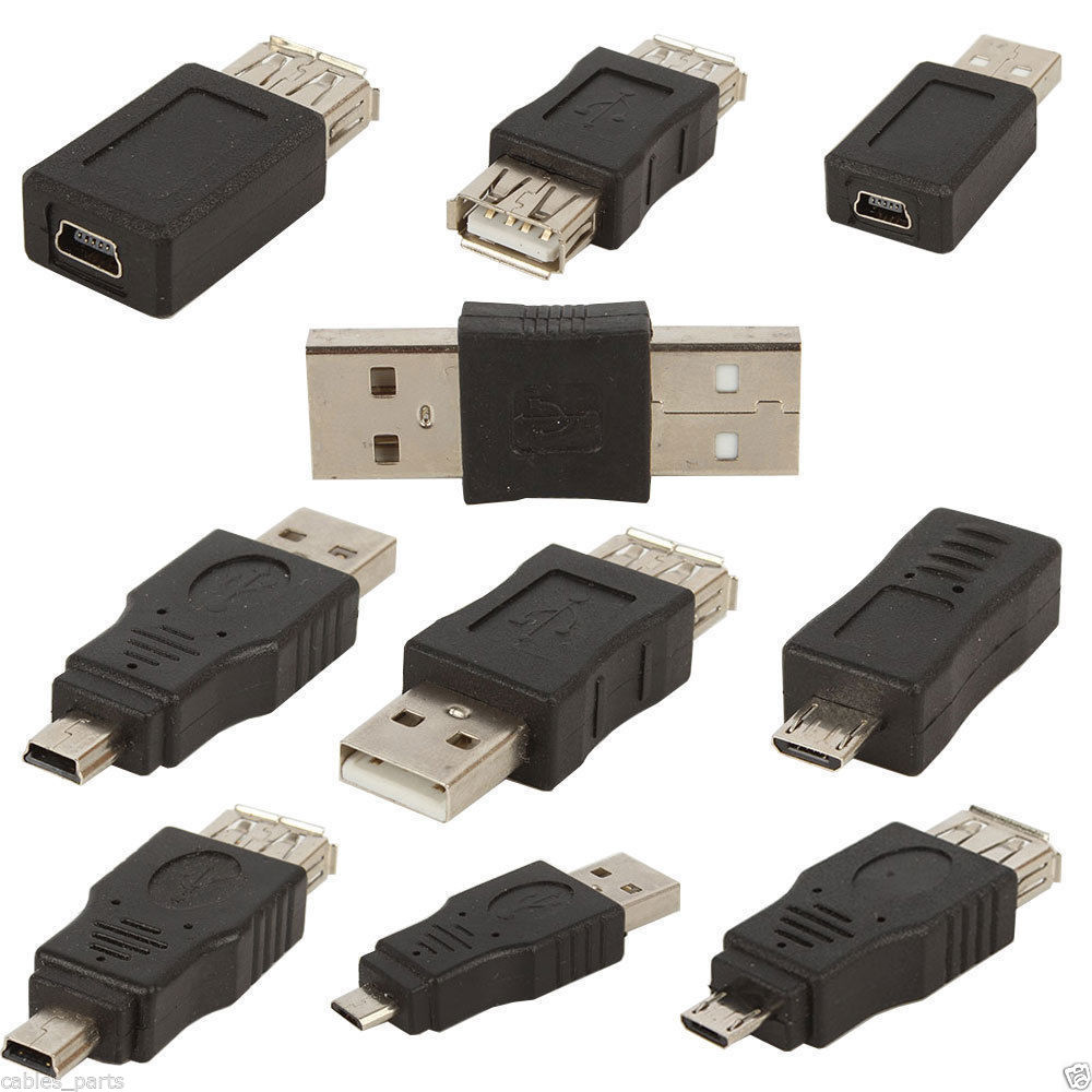 CableVantage 10pcs OTG 5 pin F/M mini changer adapter converter USB male to female micro USB