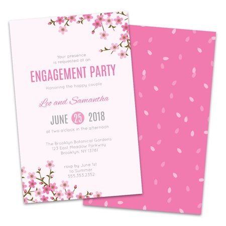 Personalized Cherry Blossom Engagement Party Invitations](Halloween Engagement Party Invitations)