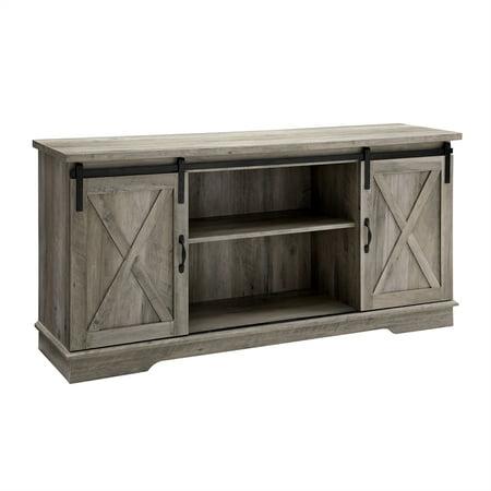 58 inch sliding barn door grey wash tv console. Black Bedroom Furniture Sets. Home Design Ideas