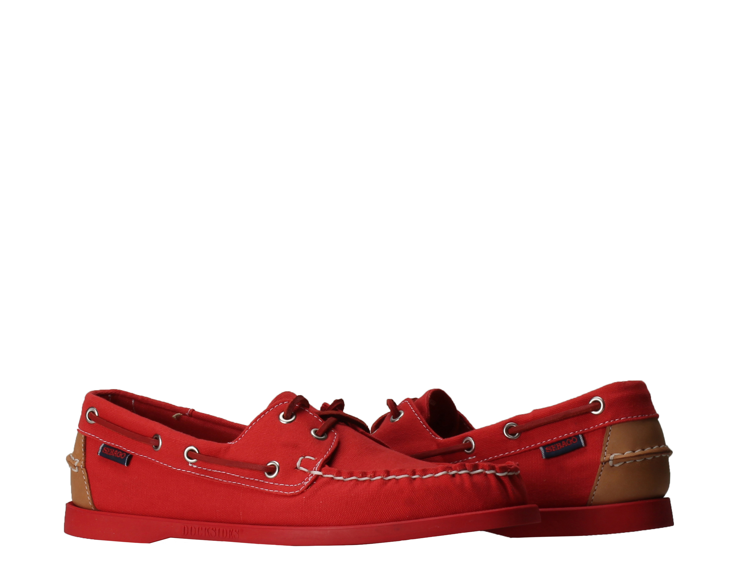 Sebago Docksides Red Canvas Tan Leather Men's Boat Shoes B720148 by