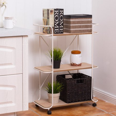 Costway 3 Tier Metal Rolling Cart Storage Rack Shelves Display Utility Organizer White