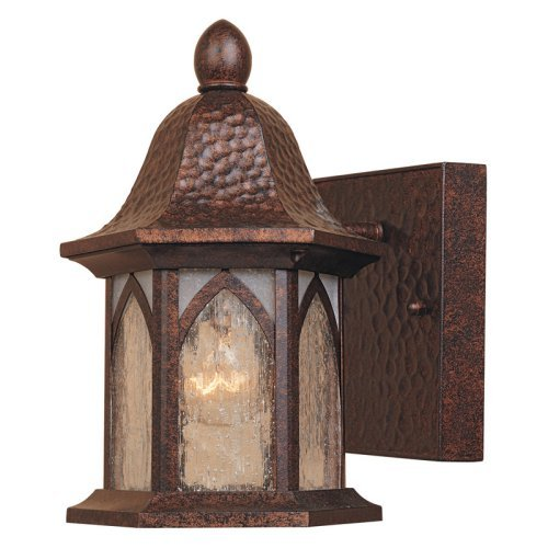 Designers Fountain Berkshire - One Light Outdoor Wall Lantern, Burnished Antique Copper Finish with Clear and Frosted Seedy Glass