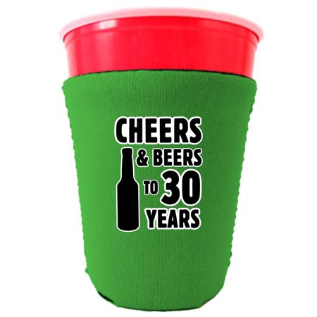 Cheers & Beers to 30 Years Neoprene Collapsible Solo Cup Coolie (Bright Green, 6) ()