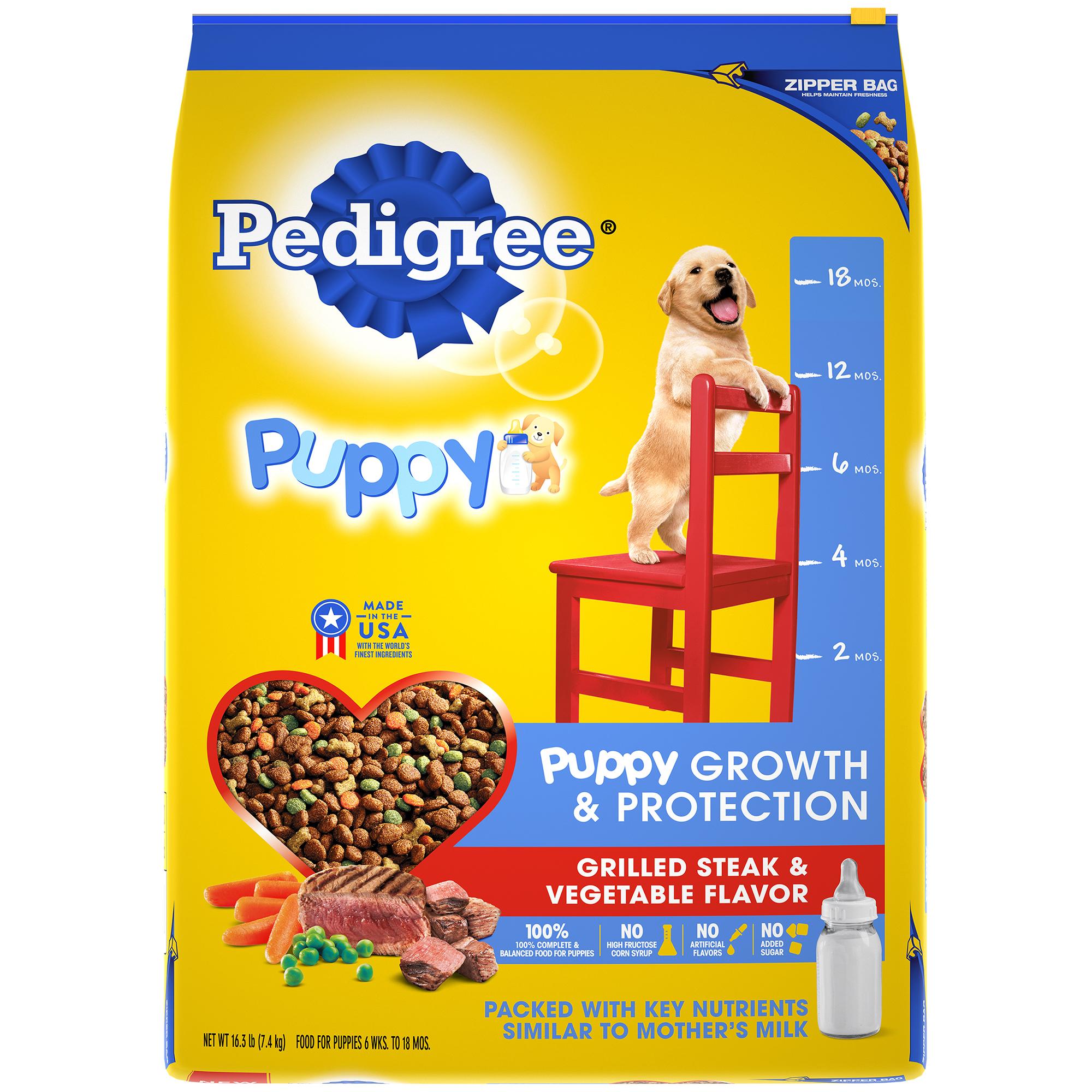 Pedigree Puppy Growth & Protection Dry Dog Food, Grilled Steak & Vegetable Flavor, 16.3 lb. Bag
