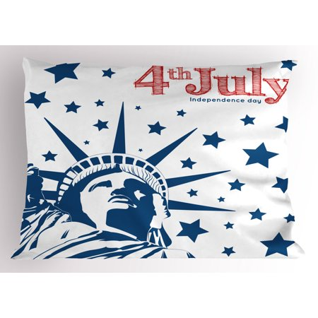 4th of July Pillow Sham Murky Old American Flag Background with Stars Abstract USA Theme Artful Image, Decorative Standard Queen Size Printed Pillowcase, 30 X 20 Inches, Blue and Red, by Ambesonne