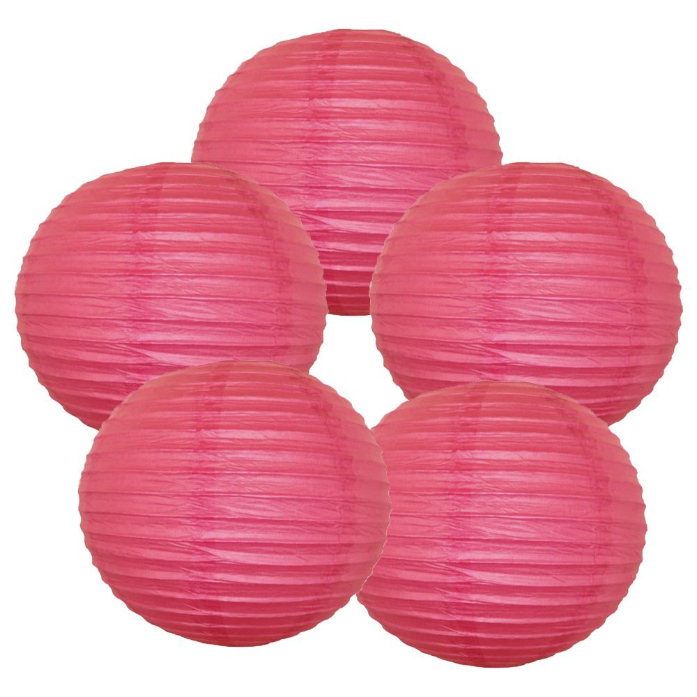 "14"" (Set of 6 Pcs) Paper Lanterns - Rice Paper Chinese/Japanese Hanging Decorations - For Home Decor, Parties, and Weddings"