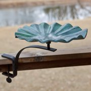 Lily Leaf Bird Bath with Deck Mount Bracket
