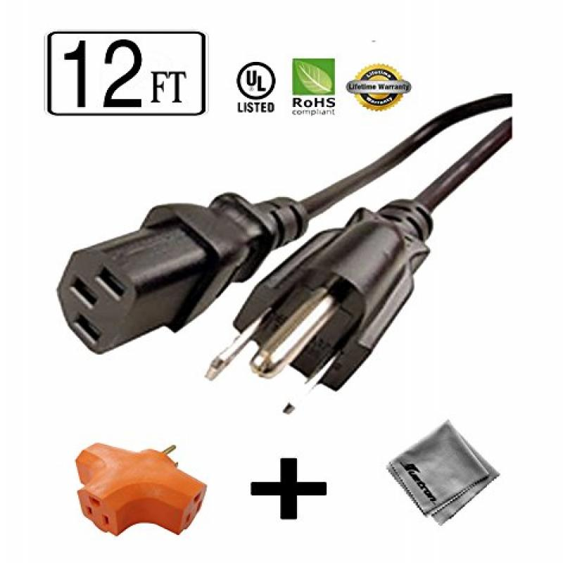 12 ft Long Power Cord for Dynex Television (Specific Models Only) + 3 Outlet Grounded Power Tap