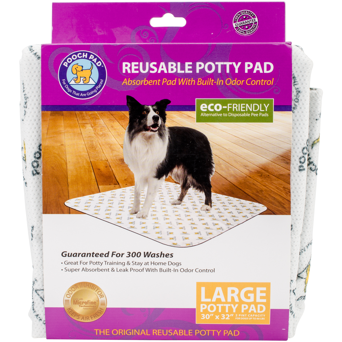 """Poochpad Reusable Absorbent Potty Pad 30""""X32""""-Large White"""