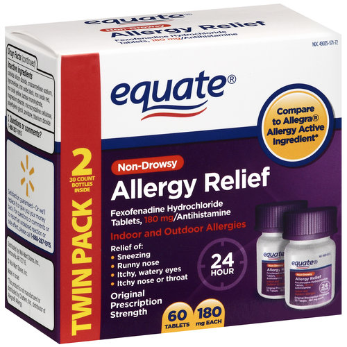 Equate Fexofenadine HCL Allergy Relief Twin Pack 180mg, 2pk