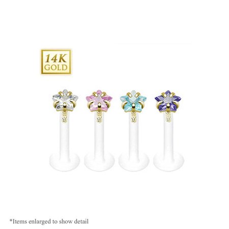 Bio-Flex 16G Shaft Labret Monroe with 14K Gold Star Cut CZ Prong Set