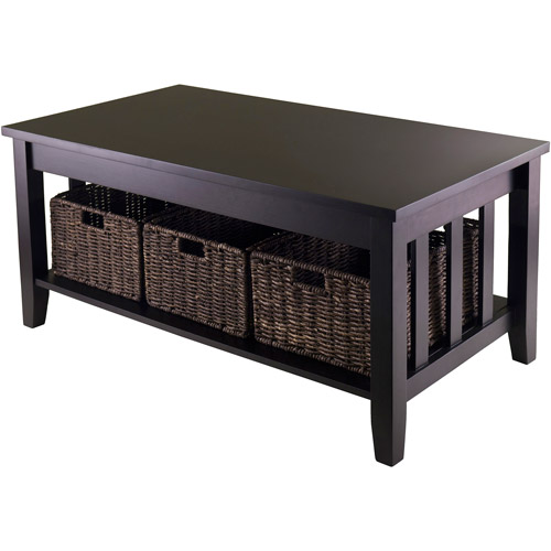 Morris Coffee Table with 3 Baskets, Espresso