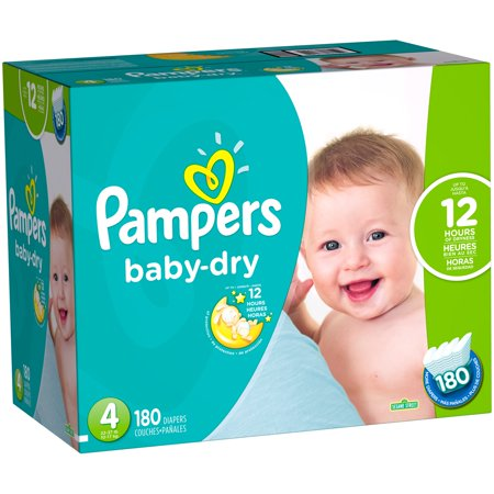 Pampers Baby Dry Diapers, Size 4, 180 Diapers