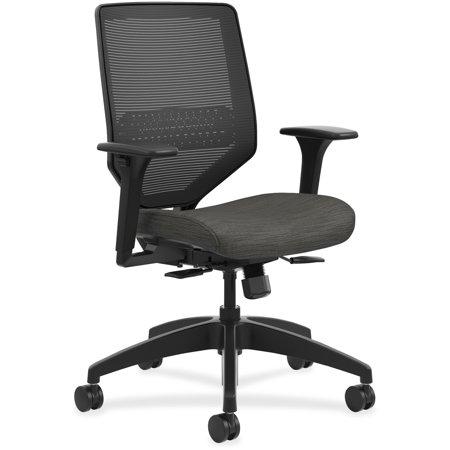 HON Solve Mid-Back Task Chair, Black ilira-Stretch Mesh Back, Adjustable Lumbar Support, Adjustable Arms, Easy Assembly, Black Frame, Ink Seat -