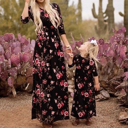 The Noble Collection Family Dress Mother and Daughter Matching Floral Womens Girls Long Maxi Dresses - Girls Long Maxi Dress