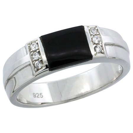 Mens Sterling Silver Onyx Ring (Sterling Silver Cubic Zirconia Mens Wedding Band Ring Black Onyx, 1/4 inch)