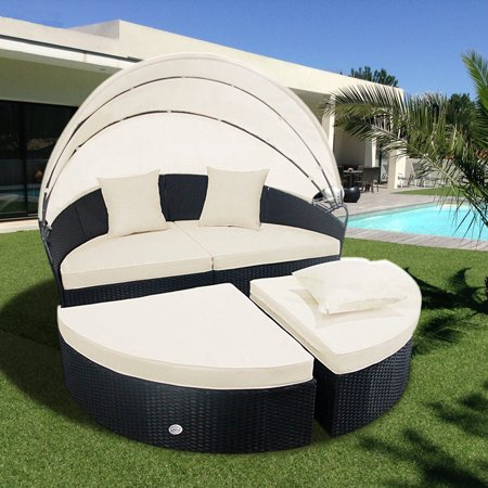 Cloud Mountain 4 Piece Canopy Daybed Patio Rattan Round