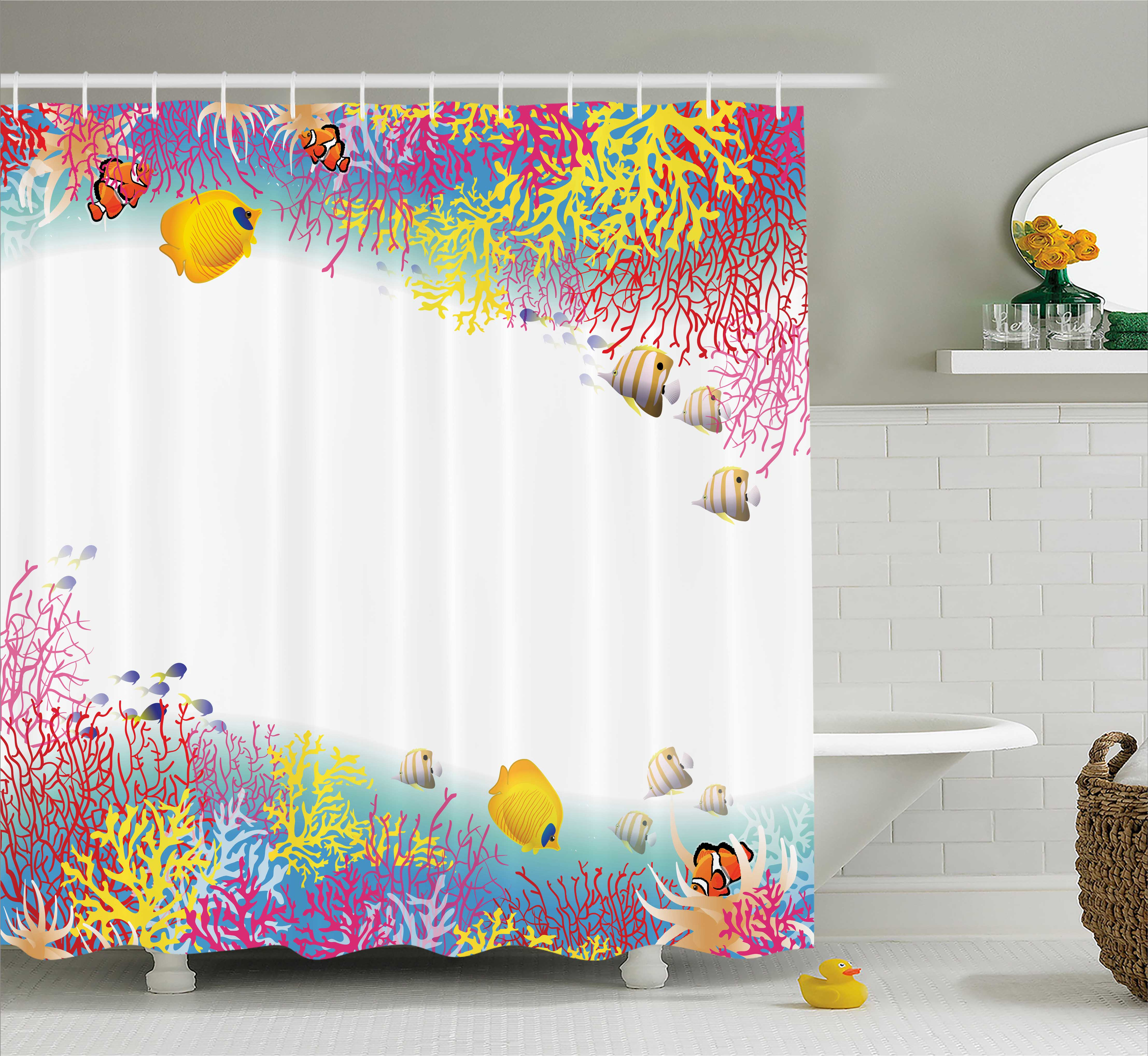 Farm House Decor Shower Curtain, Aquatic Nautical Illustration of Deep Underwater World Life Animals with Corals, Fabric Bathroom Set with Hooks, 69W X 70L Inches, Multi, by Ambesonne