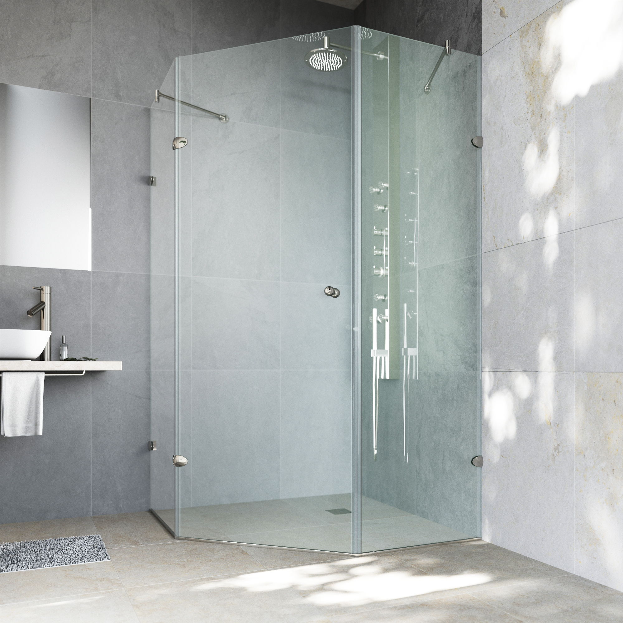 VIGO Verona 38 x 38 Frameless Neo-Angle .375-in. Clear Glass/Brushed Nickel Hardware Shower Enclosure