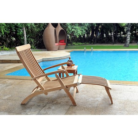 Hiteak Steamer Folding Teak Chaise Lounge Chair Product Image