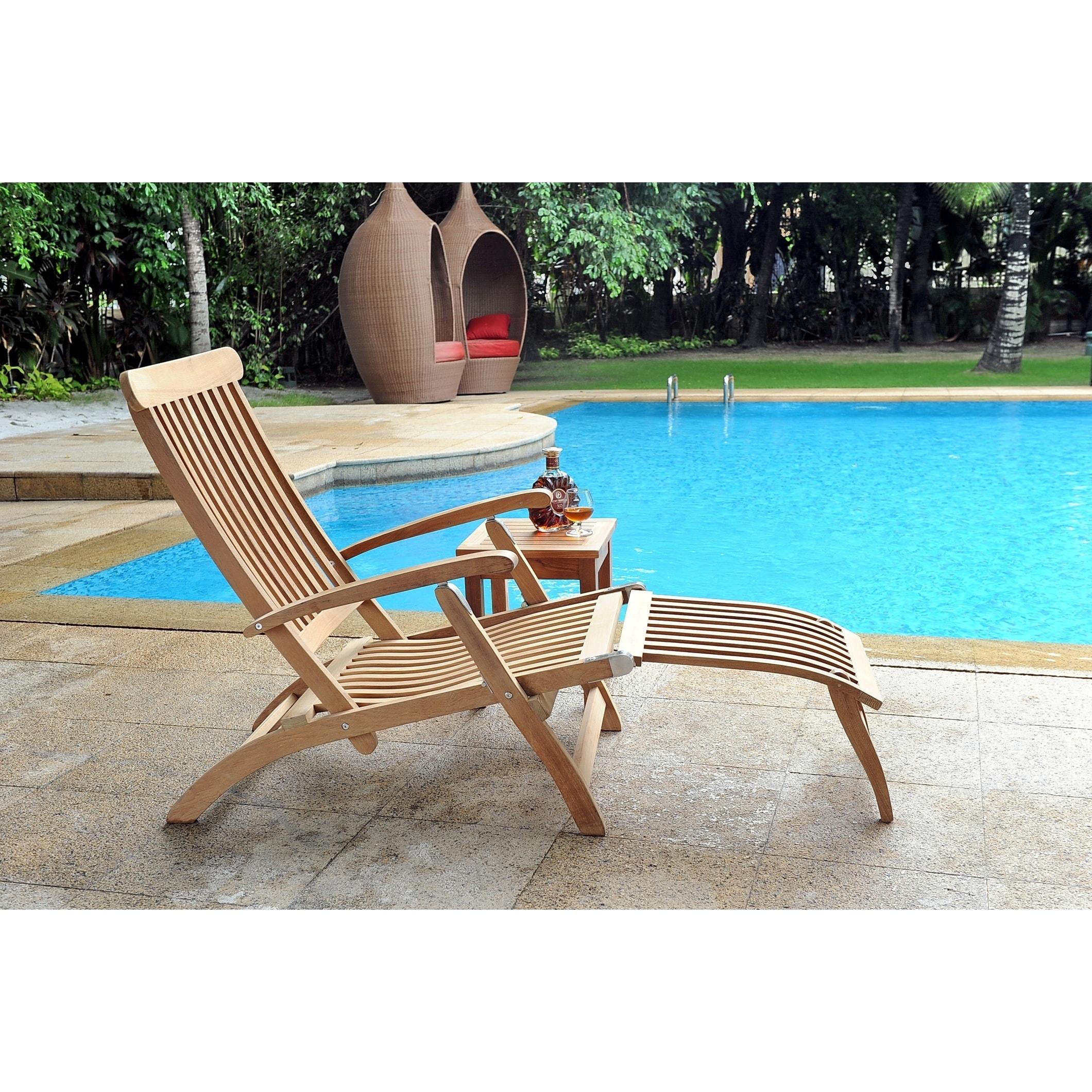 HiTeak Steamer Outdoor Folding Teak Chaise Lounge Chair