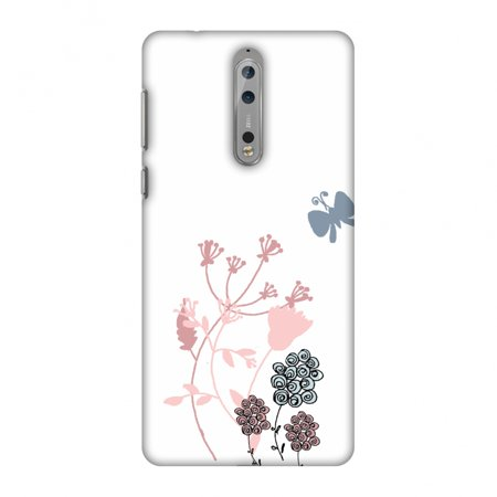 - Nokia 8 Case - Flowers and butterfly- White, Hard Plastic Back Cover, Slim Profile Cute Printed Designer Snap on Case with Screen Cleaning Kit