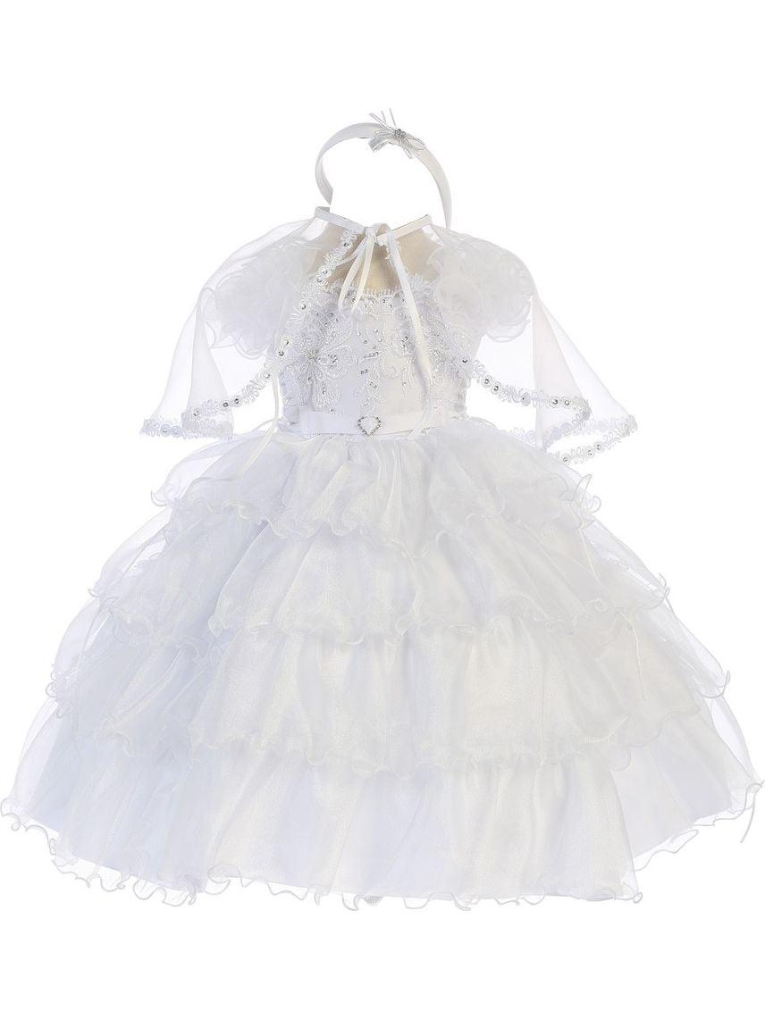 Angels Garment Baby Girls White Organza Cape Headband Baptism Dress