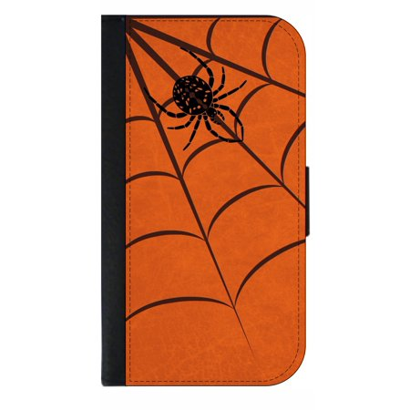 Spider Web Wallet Style Phone Case With 2 Card Slots Compatible