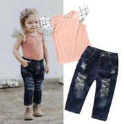 Baby Kid Girls Summer Fly Sleeve T-shirt Tops Denim Pants Ripped Jeans Clothes Outfit Set 2Pcs