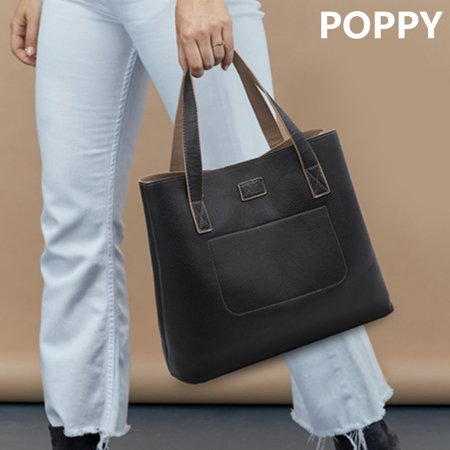 POPPY Reversible Woman Leather Tote bag, Tote Shoulder Bag Vegan Satchel Handbags 15.6 inch Notebook Laptop Lightweight Work Tote Bag fo Women Large Capacity Big Leather Tote