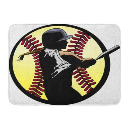 KDAGR Girl Softball Batter Hitting Home Run Silhouetted in Fast Pitch Baseball Doormat Floor Rug Bath Mat 30x18 inch