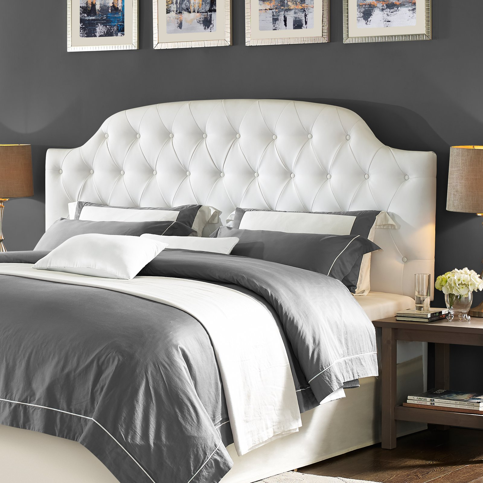 Dorel Living Lyric Button Tufted Faux Leather King Headboard, White