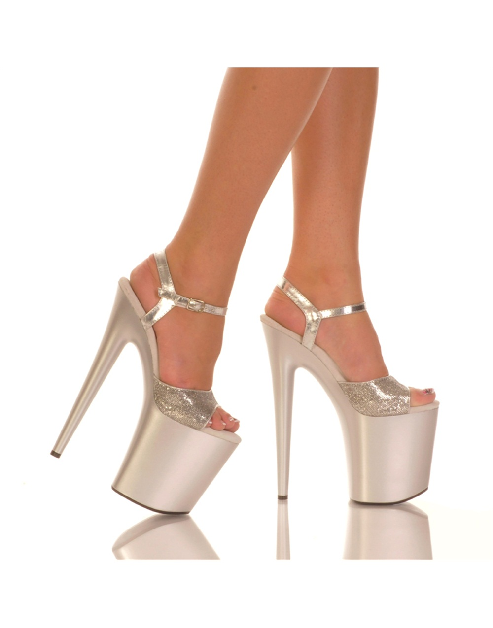 """Sexy Womens 8"""" Silver Platform Glitter Upper And Qtr Strap Shoes"""