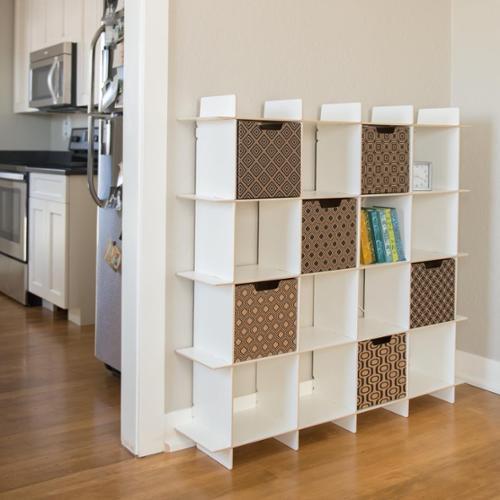 Modern 16 Cube Storage Bookcase White 16 Cubby Organizer