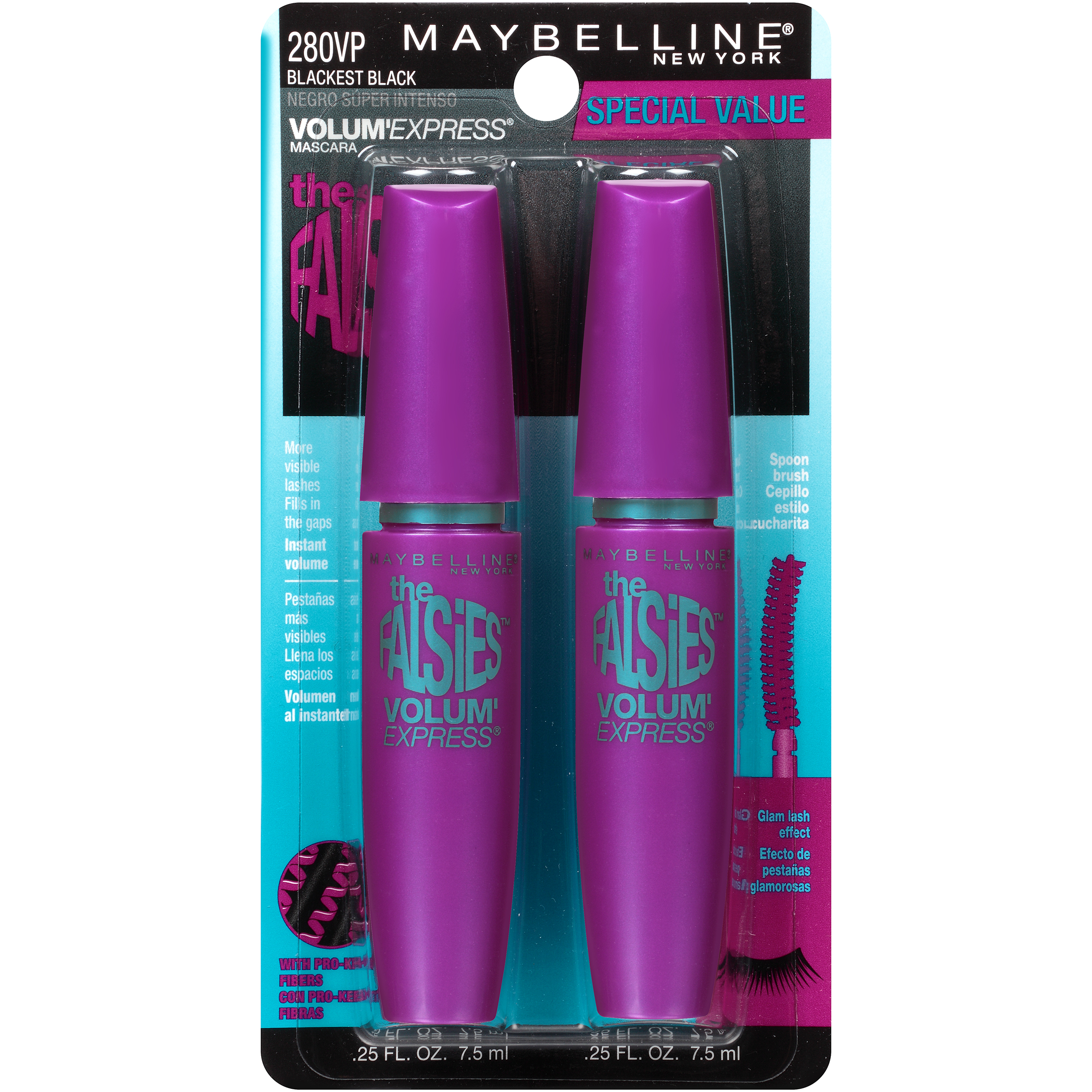 Maybelline New York Volum' Express Falsies Washable Mascara 280VP Blackest Black 0.5 fl. oz.