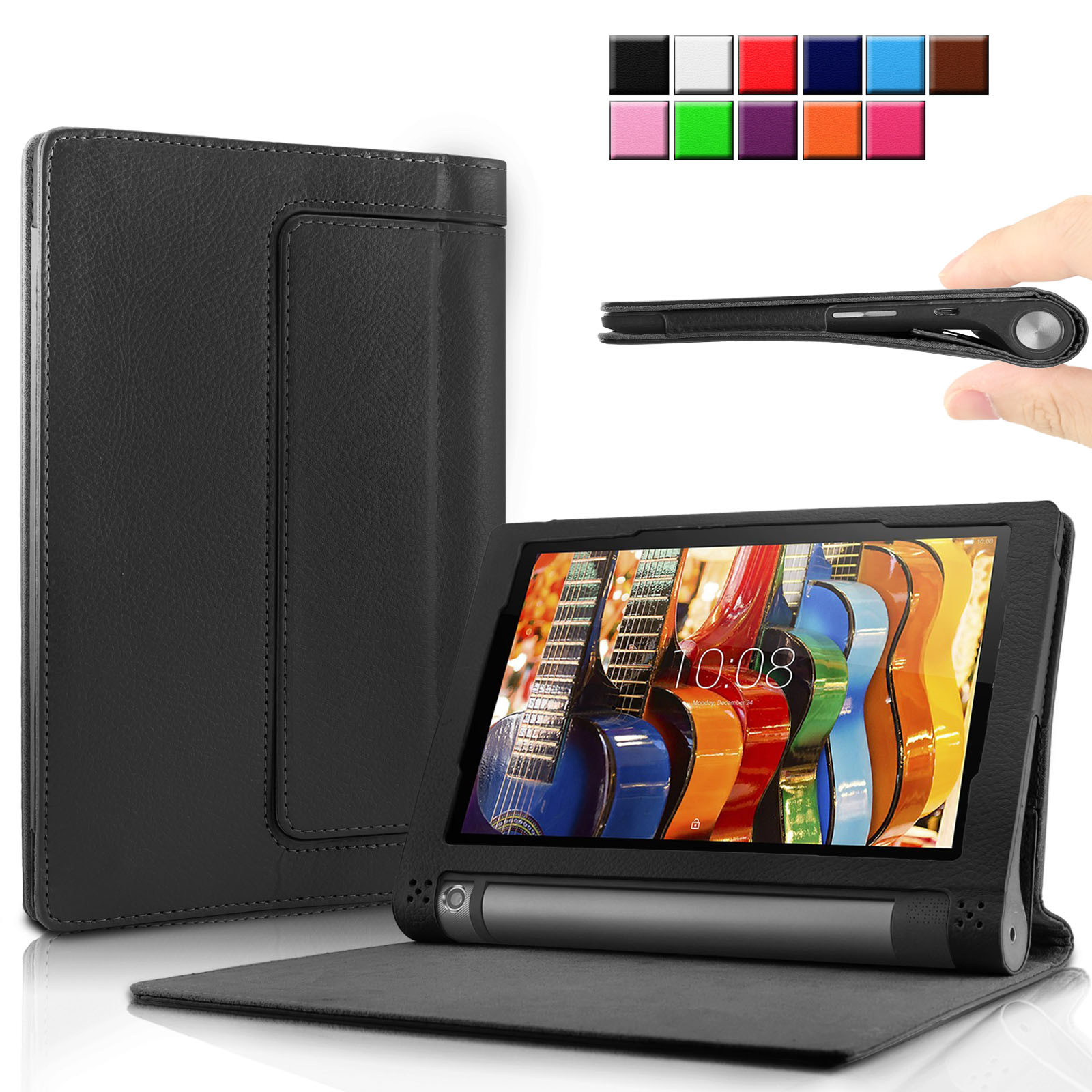 Infiland Folio PU Leather Cover Case For Lenovo Yoga Tab 3 10 10.1-Inch Tablet, Black