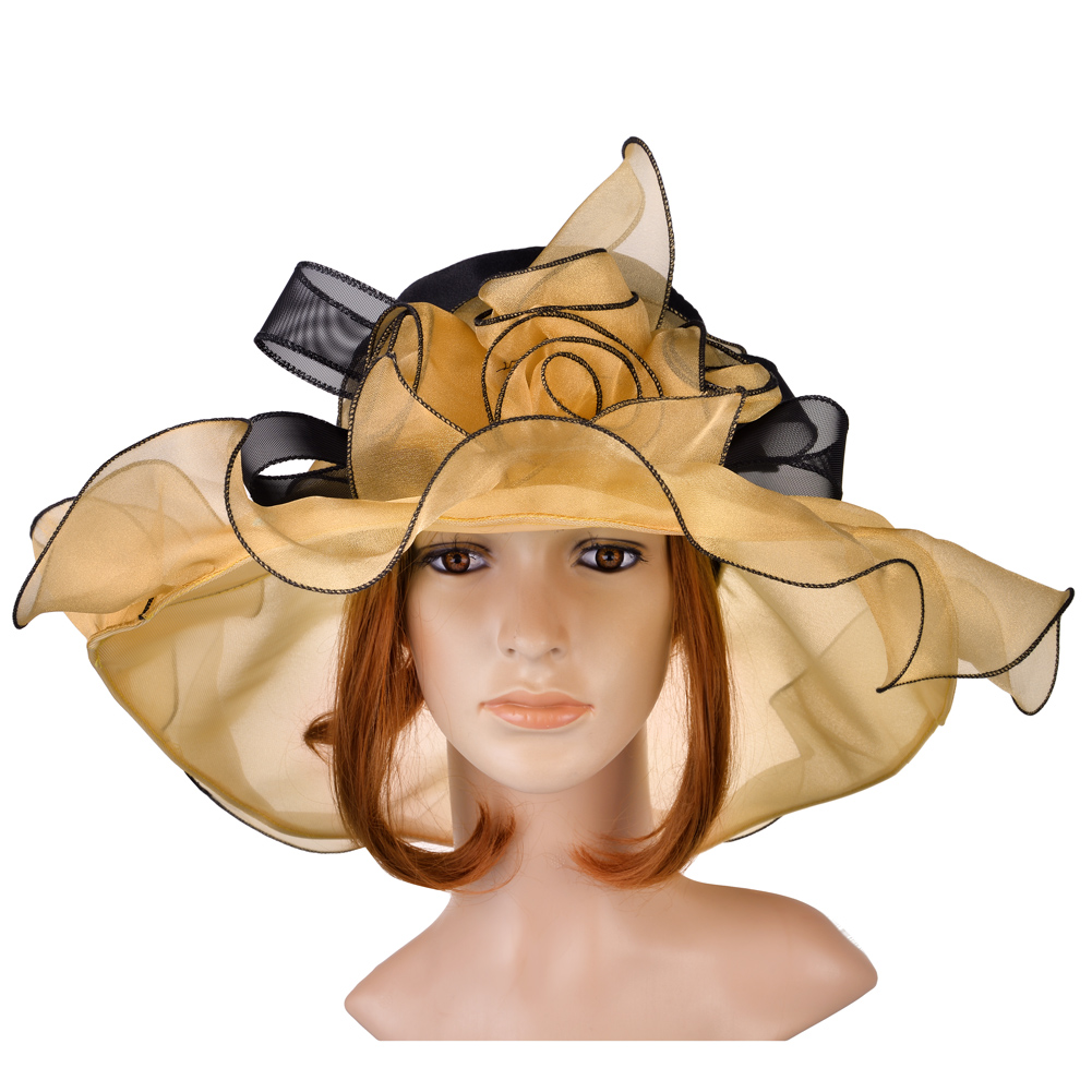 Vbiger Vintage and Fashionable Organza Floral Ruffles Wide Large Brim Tea Party Wedding Sun Hat Beach Sunbonnet