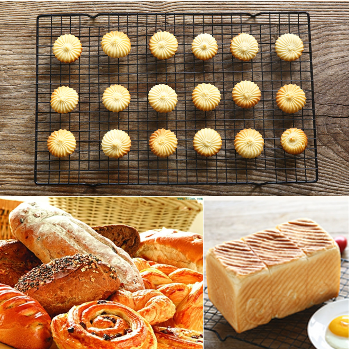 15.7 x10.0 x0.8  Nonstick Cake Cooling Rack Mesh Grid Baking Cookie Biscuit Drying Stand Wire Pan